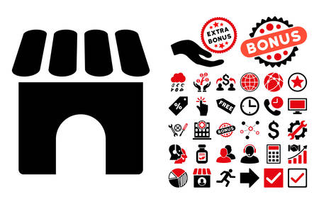 habitation: Shop icon with bonus elements. Vector illustration style is flat iconic bicolor symbols, intensive red and black colors, white background. Illustration