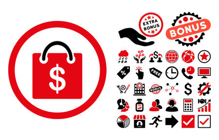 billfold: Shopping Bag pictograph with bonus pictures. Vector illustration style is flat iconic bicolor symbols, intensive red and black colors, white background. Illustration