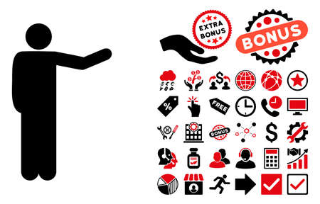 Showing Man icon with bonus design elements. Vector illustration style is flat iconic bicolor symbols, intensive red and black colors, white background. Illustration