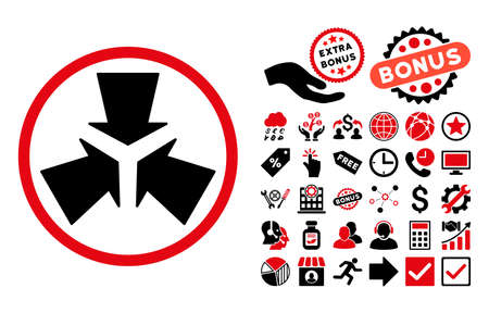 Shrink Arrows icon with bonus symbols. Vector illustration style is flat iconic bicolor symbols, intensive red and black colors, white background.