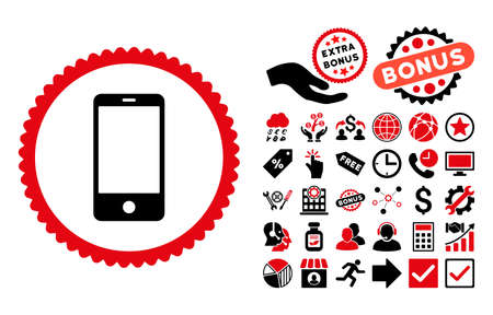 Smartphone pictograph with bonus icon set. Vector illustration style is flat iconic bicolor symbols, intensive red and black colors, white background.
