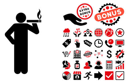 Smoking Man pictograph with bonus images. Vector illustration style is flat iconic bicolor symbols, intensive red and black colors, white background.