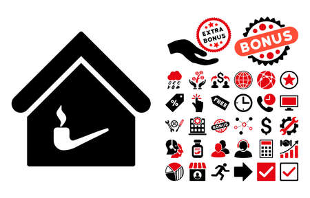 fumes: Smoking Room icon with bonus clip art. Vector illustration style is flat iconic bicolor symbols, intensive red and black colors, white background.