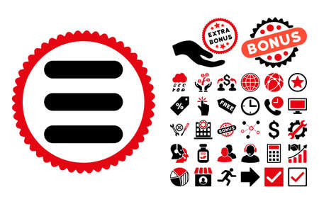 item list: Stack icon with bonus clip art. Vector illustration style is flat iconic bicolor symbols, intensive red and black colors, white background.