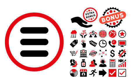 nomenclature: Stack pictograph with bonus symbols. Vector illustration style is flat iconic bicolor symbols, intensive red and black colors, white background.