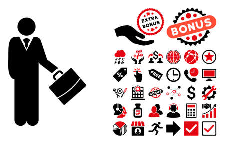 bookkeeper: Standing Businessman pictograph with bonus clip art. Vector illustration style is flat iconic bicolor symbols, intensive red and black colors, white background.