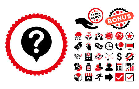 Status icon with bonus design elements. Vector illustration style is flat iconic bicolor symbols, intensive red and black colors, white background. Illustration