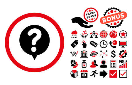 Status icon with bonus clip art. Vector illustration style is flat iconic bicolor symbols, intensive red and black colors, white background.