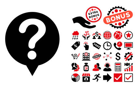 status icon: Status icon with bonus symbols. Vector illustration style is flat iconic bicolor symbols, intensive red and black colors, white background.