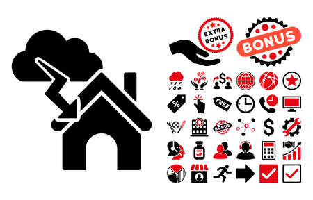 fiasco: Storm Building icon with bonus design elements. Vector illustration style is flat iconic bicolor symbols, intensive red and black colors, white background.