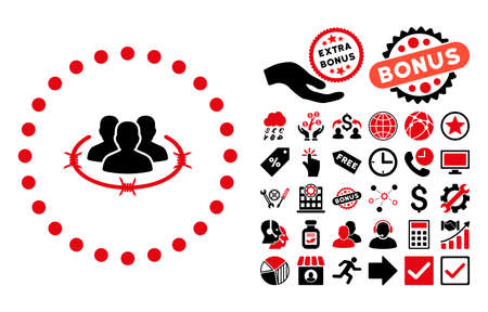 Strict Management pictograph with bonus pictogram. Vector illustration style is flat iconic bicolor symbols, intensive red and black colors, white background. Illustration