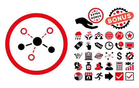 linkage: Structure pictograph with bonus pictures. Vector illustration style is flat iconic bicolor symbols, intensive red and black colors, white background. Illustration