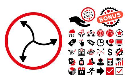 cíclico: Icono de flechas de remolino con elementos de bonificación. El estilo del ejemplo del vector es símbolos bicolores icónicos planos, colores rojos y negros intensivos, fondo blanco.