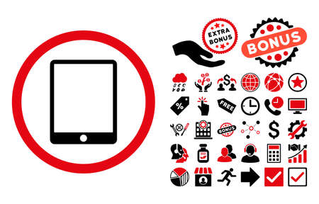 Tablet Pad pictograph with bonus clip art. Vector illustration style is flat iconic bicolor symbols, intensive red and black colors, white background.