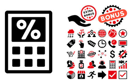 toll: Tax Calculator pictograph with bonus images. Vector illustration style is flat iconic bicolor symbols, intensive red and black colors, white background.