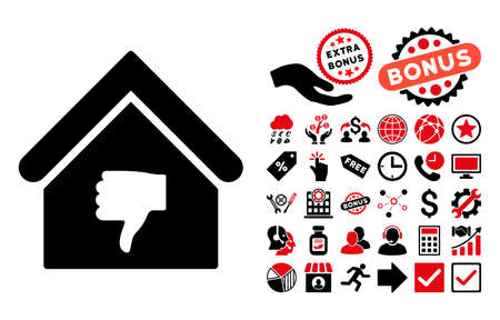 ugly gesture ugly gesture: Thumb Down Building pictograph with bonus pictures. Vector illustration style is flat iconic bicolor symbols, intensive red and black colors, white background.