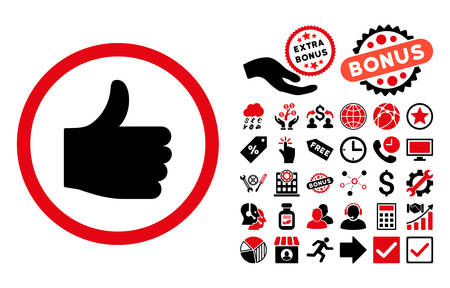 thumb up icon: Thumb Up icon with bonus images. Vector illustration style is flat iconic bicolor symbols, intensive red and black colors, white background.