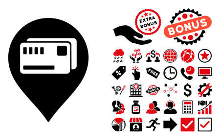 financial position: Tickets Map Marker icon with bonus images. Vector illustration style is flat iconic bicolor symbols, intensive red and black colors, white background.