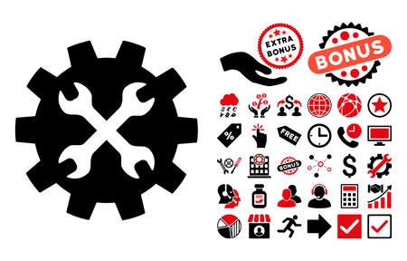 adjustment: Tools pictograph with bonus pictogram. Vector illustration style is flat iconic bicolor symbols, intensive red and black colors, white background.