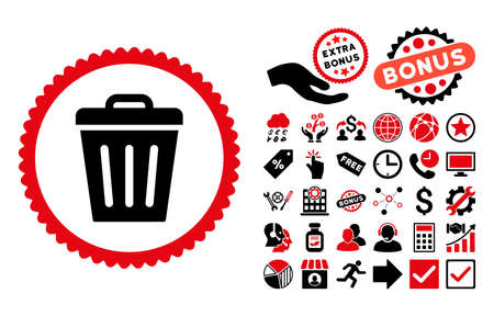 discard: Trash Can icon with bonus pictograph collection. Vector illustration style is flat iconic bicolor symbols, intensive red and black colors, white background. Illustration