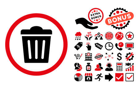 discard: Trash Can icon with bonus images. Vector illustration style is flat iconic bicolor symbols, intensive red and black colors, white background. Illustration