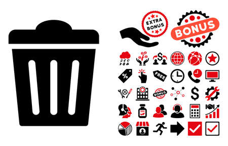 to refuse: Trash Can pictograph with bonus icon set. Vector illustration style is flat iconic bicolor symbols, intensive red and black colors, white background. Illustration
