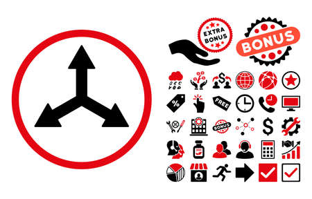 reshape: Triple Arrows pictograph with bonus design elements. Vector illustration style is flat iconic bicolor symbols, intensive red and black colors, white background. Illustration