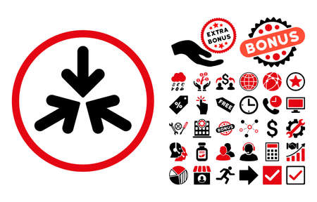 three points: Triple Collide Arrows pictograph with bonus pictograph collection. Vector illustration style is flat iconic bicolor symbols, intensive red and black colors, white background.
