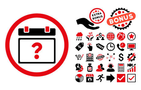 unnamed: Unknown Date pictograph with bonus pictures. Vector illustration style is flat iconic bicolor symbols, intensive red and black colors, white background. Illustration