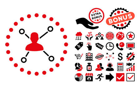 subsidiary: User Relations icon with bonus pictogram. Vector illustration style is flat iconic bicolor symbols, intensive red and black colors, white background. Illustration