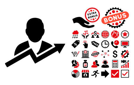 personality: User Trend icon with bonus pictograph collection. Vector illustration style is flat iconic bicolor symbols, intensive red and black colors, white background.