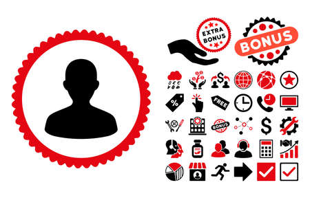 persona: User pictograph with bonus icon set. Vector illustration style is flat iconic bicolor symbols, intensive red and black colors, white background. Illustration