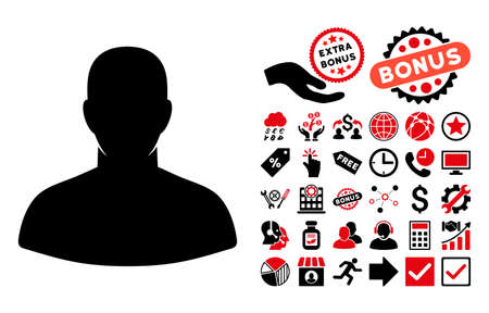 persona: User icon with bonus pictogram. Vector illustration style is flat iconic bicolor symbols, intensive red and black colors, white background.