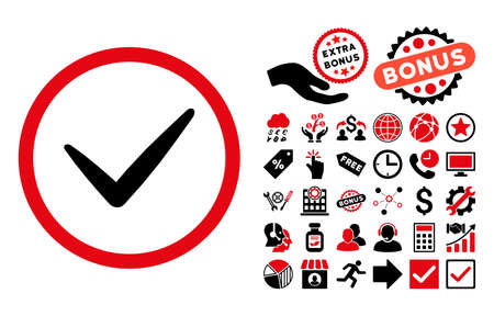 valid: Valid pictograph with bonus pictures. Vector illustration style is flat iconic bicolor symbols, intensive red and black colors, white background.