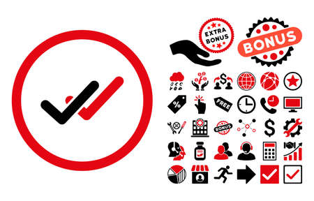 validation: Validation pictograph with bonus symbols. Vector illustration style is flat iconic bicolor symbols, intensive red and black colors, white background.