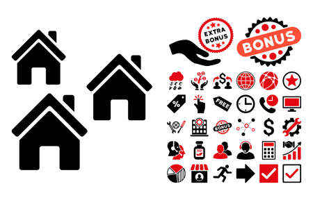 suburban home: Village Buildings pictograph with bonus images. Vector illustration style is flat iconic bicolor symbols, intensive red and black colors, white background. Illustration