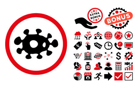idler: Virus pictograph with bonus pictograph collection. Vector illustration style is flat iconic bicolor symbols, intensive red and black colors, white background.
