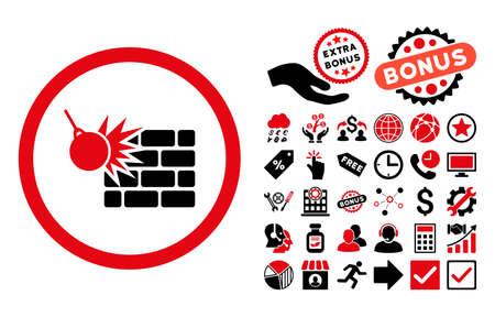 Wand Zerstörung Symbol mit Bonus-Bilder. Vektor-Illustration Stil ist flach ikonischen bicolor Symbole, intensive Farben rot und schwarz, weißen Hintergrund. Vektorgrafik