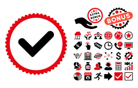 confirm: Yes pictograph with bonus pictograph collection. Vector illustration style is flat iconic bicolor symbols, intensive red and black colors, white background. Illustration