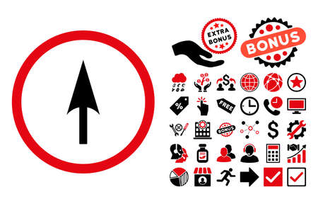 Arrow Axis Y pictograph with bonus symbols. Glyph illustration style is flat iconic bicolor symbols, intensive red and black colors, white background.