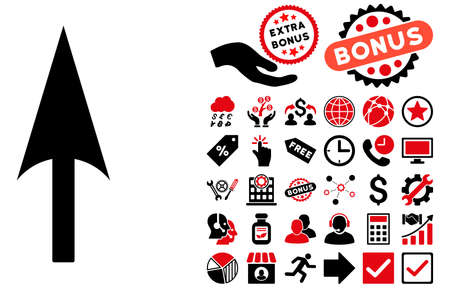 ordinate: Arrow Axis Y pictograph with bonus pictogram. Glyph illustration style is flat iconic bicolor symbols, intensive red and black colors, white background. Stock Photo