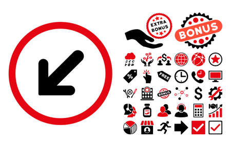 inclination: Arrow Left-Down pictograph with bonus pictograph collection. Glyph illustration style is flat iconic bicolor symbols, intensive red and black colors, white background.