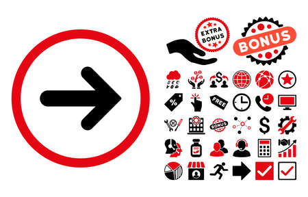 Arrow Right pictograph with bonus design elements. Glyph illustration style is flat iconic bicolor symbols, intensive red and black colors, white background. Stock Photo