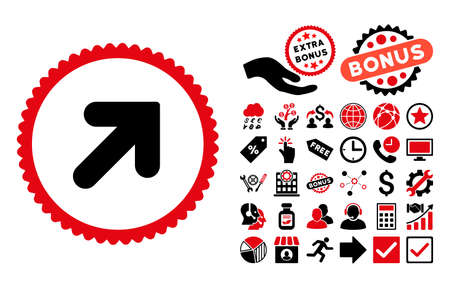 Arrow Up Right icon with bonus images. Glyph illustration style is flat iconic bicolor symbols, intensive red and black colors, white background. Stock Photo