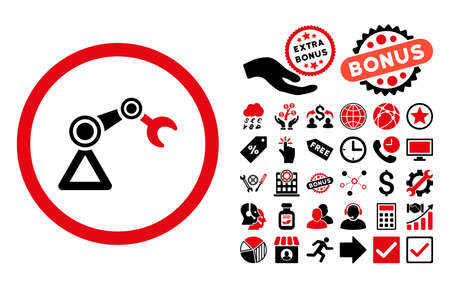 Artificial Manipulator icon with bonus elements. Glyph illustration style is flat iconic bicolor symbols, intensive red and black colors, white background.