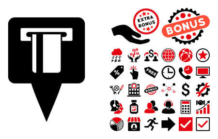 pictograph: ATM Machine Map Pointer pictograph with bonus clip art. Glyph illustration style is flat iconic bicolor symbols, intensive red and black colors, white background.