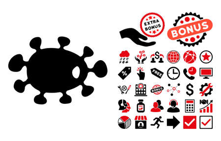 ameba: Bacteria pictograph with bonus icon set. Glyph illustration style is flat iconic bicolor symbols, intensive red and black colors, white background.
