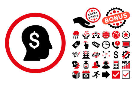 moneymaker: Businessman icon with bonus pictogram. Glyph illustration style is flat iconic bicolor symbols, intensive red and black colors, white background.