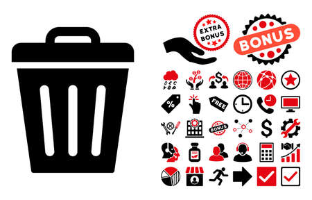 discard: Trash Can pictograph with bonus clip art. Vector illustration style is flat iconic bicolor symbols, intensive red and black colors, white background.