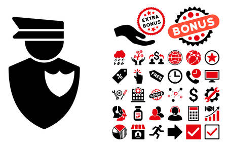 bobby: Policeman icon with bonus images. Vector illustration style is flat iconic bicolor symbols, intensive red and black colors, white background.